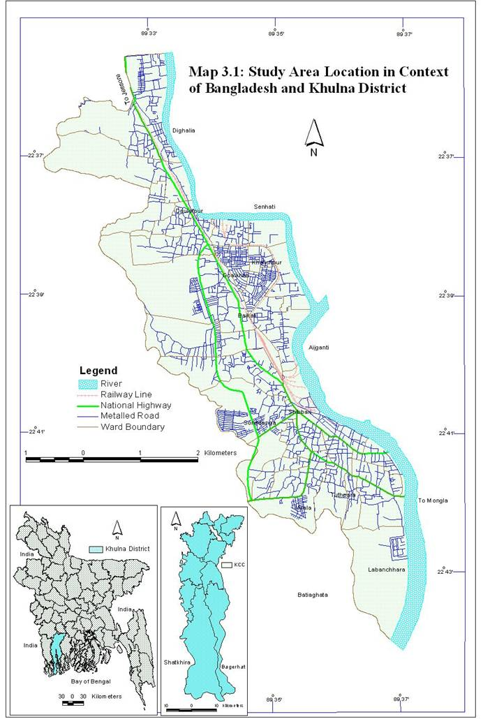 Study Area - Map of khulna city